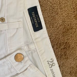 J. Crew Toothpick Denim Jeans White 28  Ankle